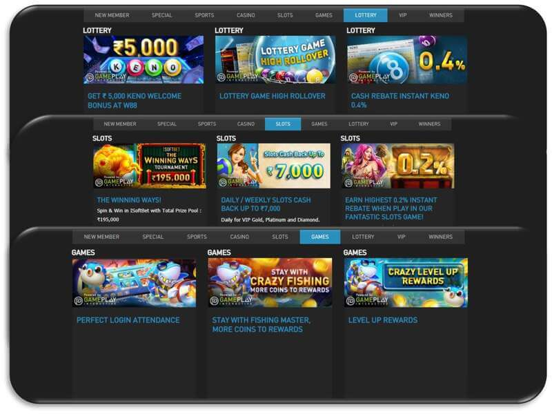 Pot of Overflowing Golds from W88 Promotions - Casino Slots, Lottery, and Games